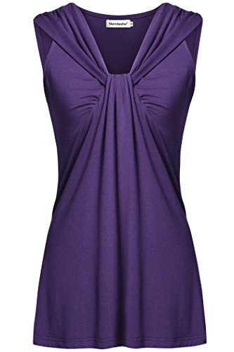 Nandashe Business Office Shirts Women, Plus Size Summer Juniors Casual V-Neck Knit Solid Chic Style Pleated Front Dressy Hemline Basic Tanks Shorts Dark Purple Oversized Camis Dark Purple 2X by Nandashe