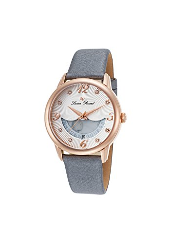 Lucien Piccard Women's 'Bellaluna' Swiss Quartz Stainless Steel and Leather Casual Watch, Color:Grey (Model: LP-40034-RG-02-SGSS)