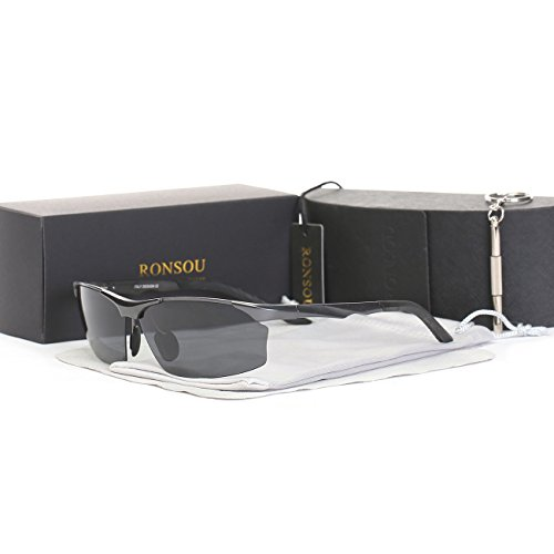 Ronsou Men Sport Al-Mg Alloy Frame Polarized Sunglasses Fashion Driving eyewear gray frame/gray - Target Straps Sunglass