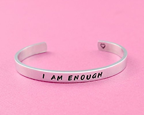 I AM ENOUGH – Hand Stamped Aluminum, Copper or Brass Cuff Bracelet, Best Friends BFF Besties Jewelry, Sisters Adjustable Bracelet, Inspirational Messa…