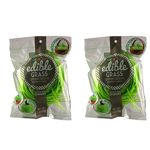 Grass Edible (Edible Easter Grass - Grass Candy - Delicious Assortment of Flavors - Green Apple, Strawberry or Blueberry (Green Sour Apple - 2 Bags))