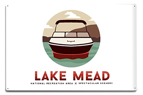Lantern Press Lake Mead National Recreation Area - Speed Boat (12x18 Aluminum Wall Sign, Wall Decor Ready to ()