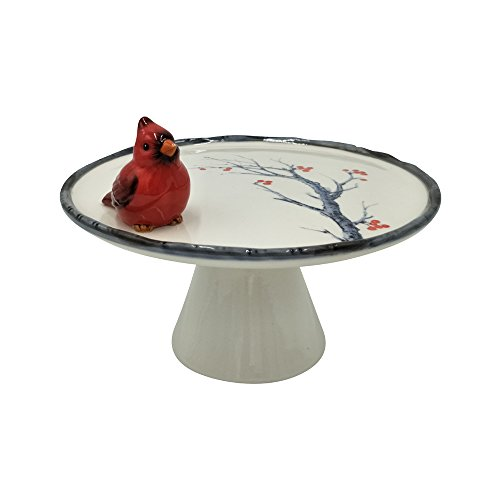 (Comfy Hour Cake Plate Decorated with Red Cardinal and Decal Tree/Flower, Cake Stand, 7
