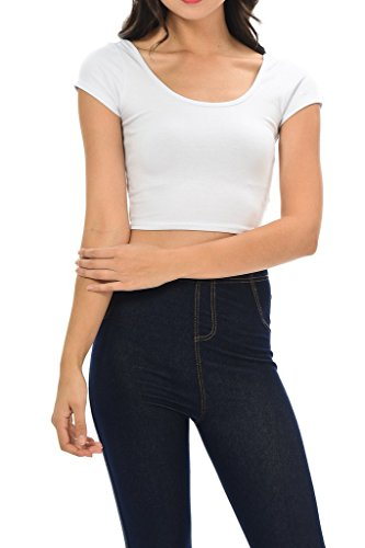 Womens Trendy Solid Color Basic Scooped Neck And Back Crop Top White Medium