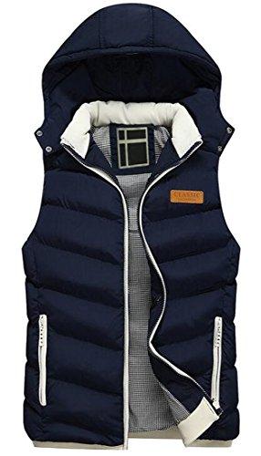 LD Mens Full-Zip Hooded Winter Warm Down Vest Padded Vest Jacket Outerwear Blue M