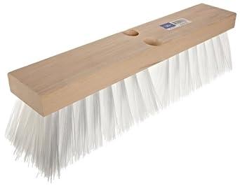 "Magnolia Brush 18"" Block Length, White Plastic Heavy Gauge Street Broom, (Carton of 6)"