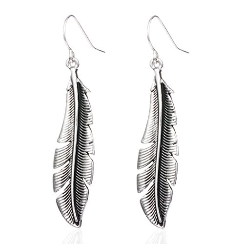 HUIMEI Antique Gold Silver Autumn Leaves Feather Drop Earring