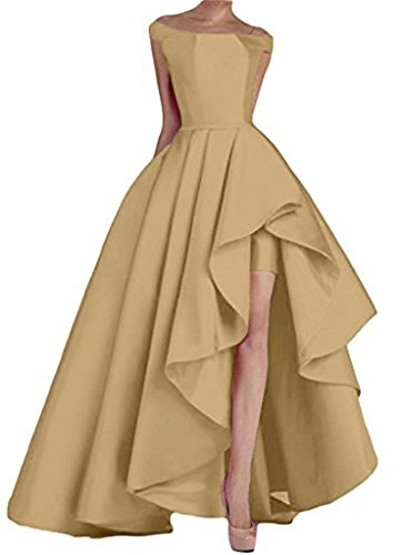 Prom Gowns A Women's Stain Formal golden Boat Neck Long Line Evening DKBridal Dresses Party wpZfvqv