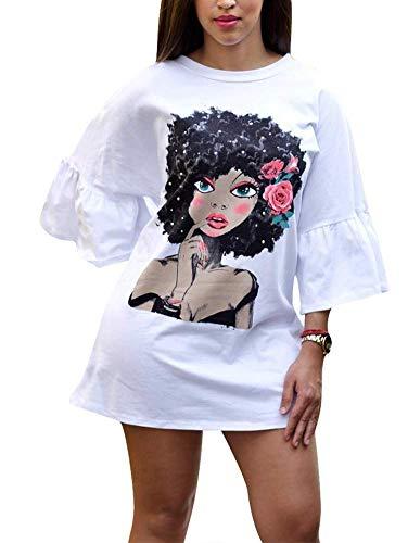 OLUOLIN Women Flare Sleeve Dress Digital Print Round Neck Mini Shirt Dress White