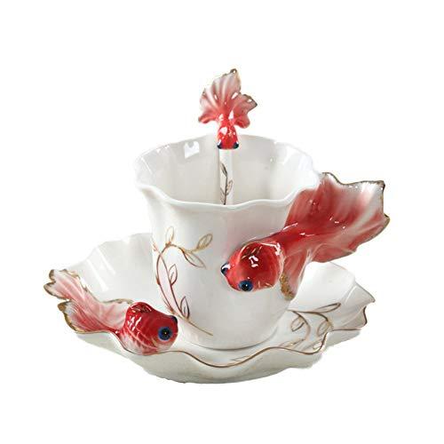 (ZaH 3D Goldfish Coffee Mugs Animal Rainbow Ceramic Mug Milk Teacup Afternoon Tea Cup and Saucer Set with Spoon (Bright Red))