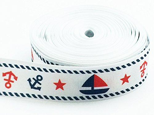 PEPPERLONELY Brand 10 Yards Nautical Anchors Sailboats 25mm (1 Inch) Grosgrain - Nautical Brands