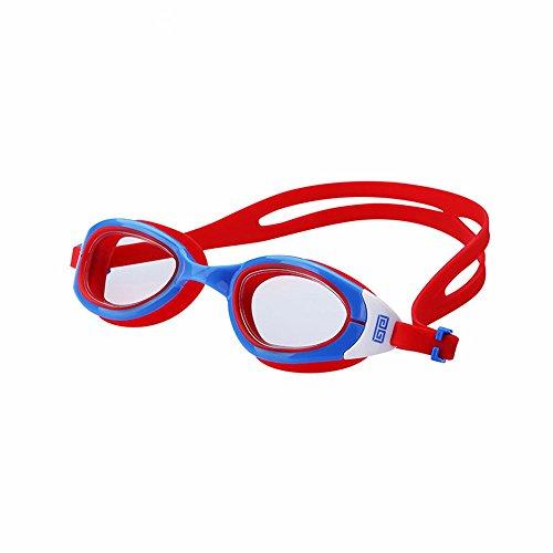 LXKMTYJ Lunettes de natation Imperméable et anti-buée HD Unisexe adulte plat formation professionnelle, bleu rouge