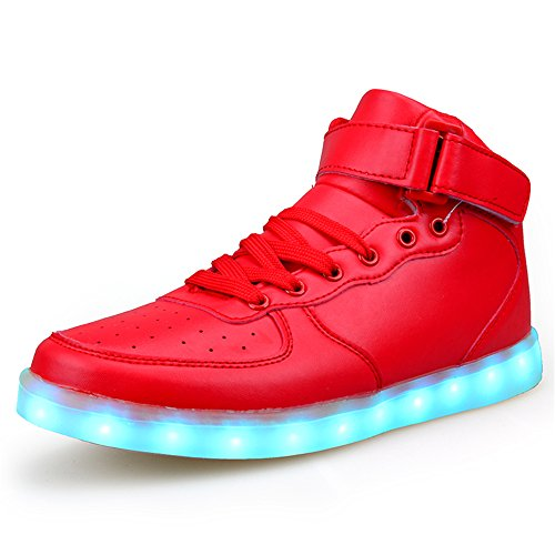 You Tube Christmas Shoes (High Top Men and Women Light Up Shoes LED Shoes Light Sneaker Christmas Halloween Gift(Red 38/7 B(M) US Women / 5 D(M) US Men))
