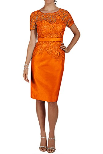 Charmeuse Missdressy Band Damen Orange Knielang Spitze Abendkleid Aermel Cocktailkleid wqrpWqYfxU