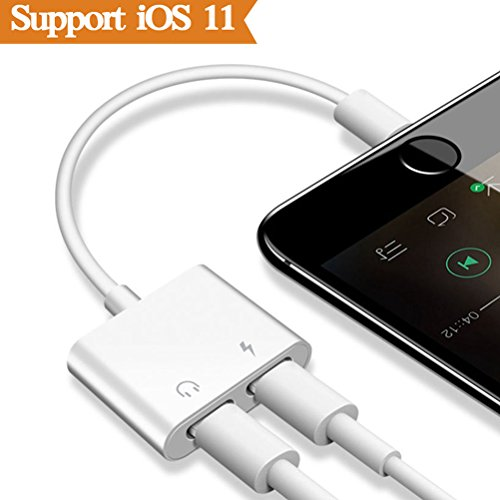 Price comparison product image THYTOB 2 in 1 Lightning Adapter Headphone for iPhone X 8 / 8 7 / 7 Plus.Phone Accessories Aux Audio Headphone and Charge Cable Splitter.Dual Lightning Adapter(Audio + Charge)Compatible for iOS 10.33 / 11.2