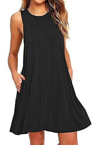 Amstt Sans Manches D'été Des Femmes Occasionnels Robe Évasée Réservoir Robes Swing T-shirt Avec Des Poches Noires