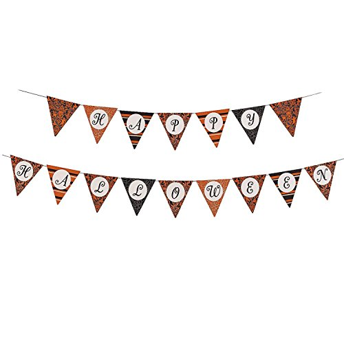 Bargain World Cardboard Happy Halloween Print Pennant Banner (With Sticky (Happy Halloween Banner Print Out)