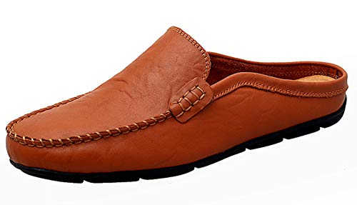 Go Tour Mens Mules Clog Slippers Breathable Leather Slip on Shoes Casual Loafers Brown 13/50
