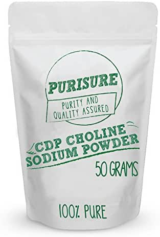 CDP Choline Powder (Citicoline Sodium) 50g (200 Servings), Promotes Cognitive Efficiency, Boosts Mental and Physical Energy, Nootropic, Increases Uridine
