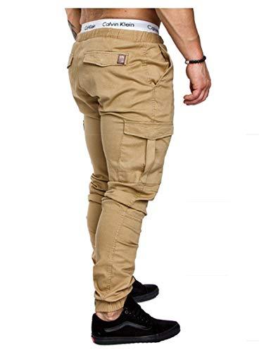 Pour Élastique Longue Kaki Printemps Pantalons Automne Poches Sport Loisirs De Único Avec Pantalon Hommes D'entraînement Taille fgPqdw