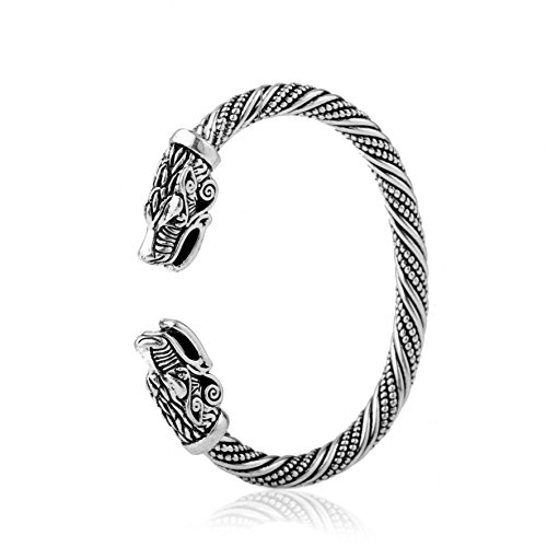 Fashion Vintage Viking Teen Wolf Head Screw Cuff Bangle Wristband Bracelet Jewelry (Antique Silver)