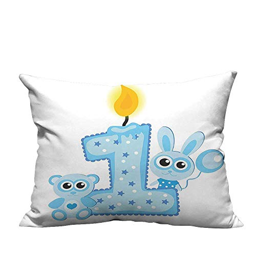 YouXianHome Pillowcase with Zipper Boys Party Theme with a Cake Candle Rabbit and Bear Baby Blue Ultra Soft & Hypoallergenic (Double-Sided Printing) 13x17.5 inch