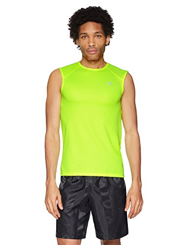 (Starter Men's Sleeveless Muscle Tech T-Shirt, Amazon Exclusive, Safety Yellow, Large)