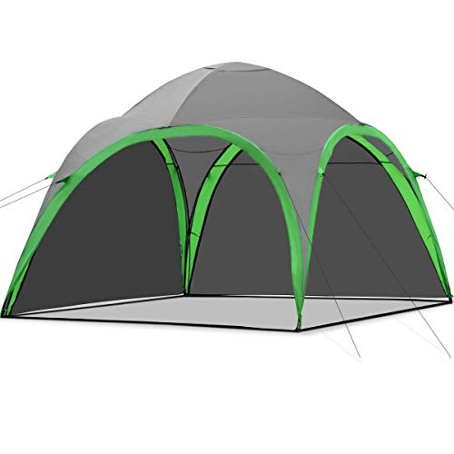 Tangkula Portable Family Camping Tent Lightweight Backpacking Dome Tent Event Shelter with Removable Waterproof Wall for Outdoor Picnic Beach Hiking Fishing with Carry Bag (Green+Grey)