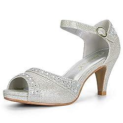 Silver Peep Toe Ankle Strap With Rhinestone Heel Sandal
