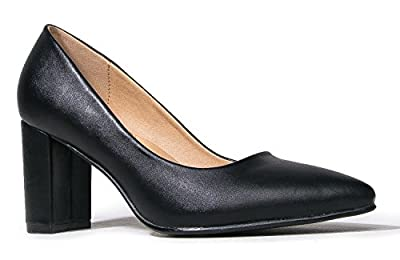 J. Adams Classic Pointed Toe Pumps - Comfortable Closed Toe Chunky Block Heels - Party, Office, Special Occasion - Jolie