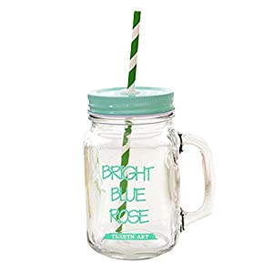 Kaimao Transparent Mason Jar Glass Drinking Bottle with Handle, Coloured Lid & Straw , Perfect for Juice, Cocktails, Smoothies, Slushies and Milkshakes - Green 16.9 Ounce