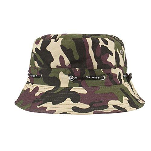 Goddessvan 2018 Cotton Camouflage Boonie Fishing Bucket Men Safari Summer String Hat Cap (Embroidered Safari Hat)