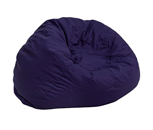 Offex OFX-369518-FF Bedroom Family Room Oversized Solid Bean Bag Chair - Navy Blue ()