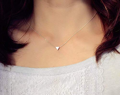 - Mirror Polished Silver Slide Floating Mini Delicate Triangle Daily Necklace Stainless Steel