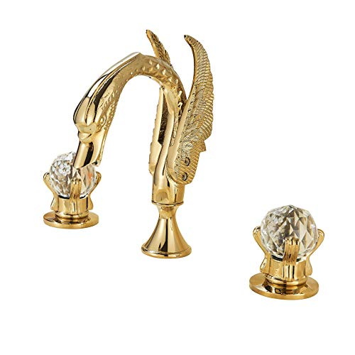 Rozin Double Crystal Knobs Basin Faucet Widepspread 3 Holes Sink Mixer Tap Gold Finish ()