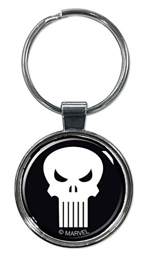 "Ata-Boy Marvel Comics Punisher Skull 1.5"" Fob Keychain for Keys, Backpack Pulls and More"