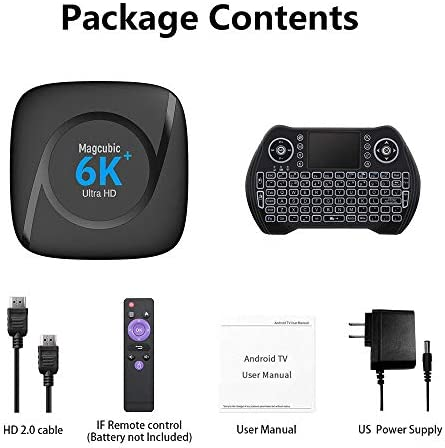 Android TV Box 10.0,H616 Smart TV Box 4GB 32GB Support 2.4G/5.8G WiFi Bluetooth 4.1 with Mini Backlit Keyboard Ethernet LAN 3-d 6K Plus Video Android TV Player Google Mini PC Set Top TV Box