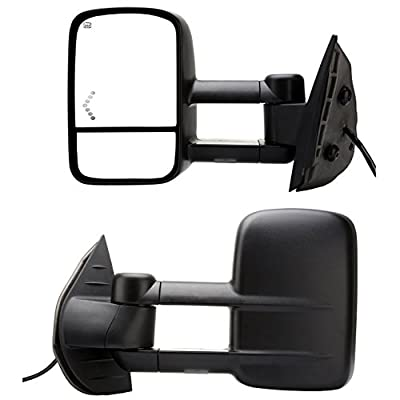 DEDC Towing Mirrors Chevy Tow Mirrors Fit For 2007-2013 Chevy Silverado 1500 2500 3500 GMC Sierra Power Heated With Arrow Led Light