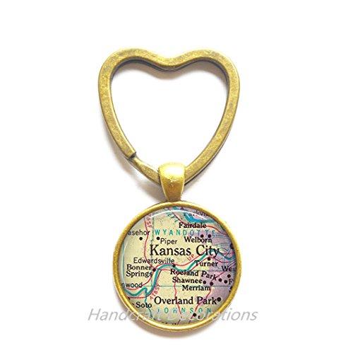 Charming Heart Keychain Kansas City Heart Keychain, Kansas City Key Ring, Overland Park Key Ring, map jewelry, map Heart Keychain, map jewellery,A0006