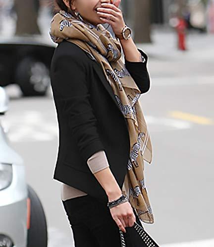 Tailleur Cappotto Fit Slim Ufficio Eleganti Blazer Lunga Battercake Business Donne Donna Giacca Da Primaverile Autunno Camicia Bavero Nero Manica Casuale Corto Prodotto Plus Fashion nmN8vw0