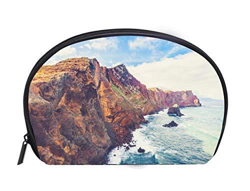 - Multi-function/Half-moon Cosmetic Bag madeira island east coast peninsula ponta de sao lourenco Travel Cosmetic Case Luxury Makeup Artist Bag