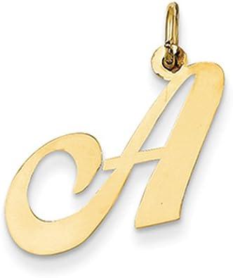 14k Yellow Gold Script Initial J Pendant Alphabet Letter Charm Fancy Small