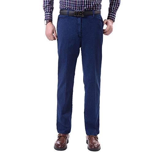 para Cintura Jeans Pantalones Alta de Azul BOZEVON de Hombres Casual Algodón Hombres FAw5g