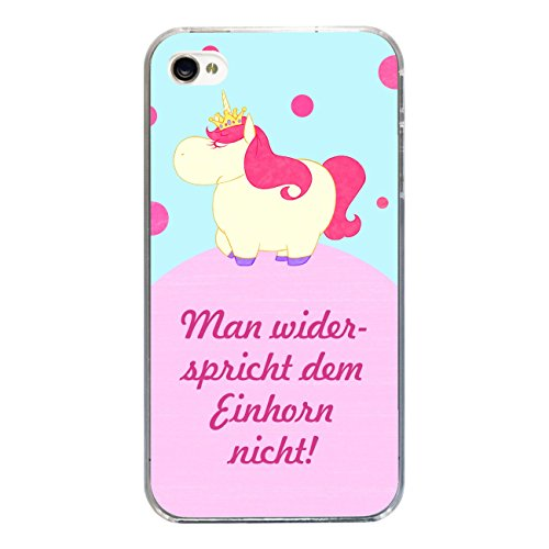 """Disagu Design Case Coque pour Apple iPhone 4 Housse etui coque pochette """"Man widerspricht dem Einhorn nicht"""""""