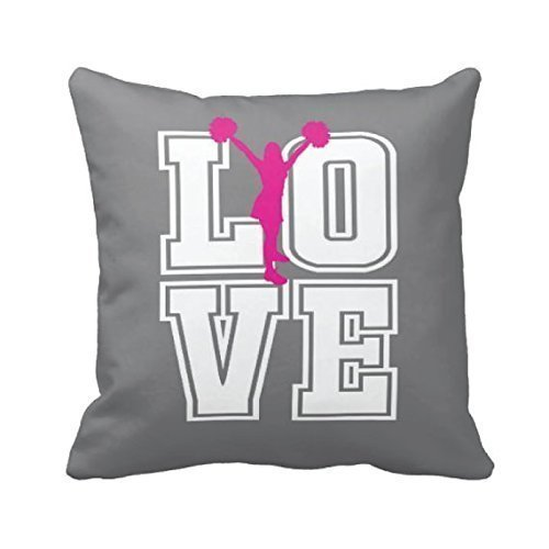 Cheerleader Throw Pillow Cover, Custom LOVE, Girl Cheer Decor, Black, Red, White or ANY COLOR, 16x16