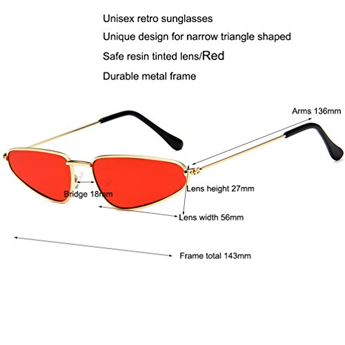 Armear Vintage Retro Clout Goggles Cateye Sunglasses Small Metal Frame Eyewear Red