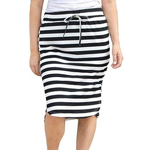 Clearance Hot Sale!Women Skirt Daoroka Sexy Striped Bow Tied High Waist Skinny Stretchy Slim Knee-Length Pencil Work Office Casual Skirt Valentine's Day Gift For Girlfriend Lovers (XL, White 2)