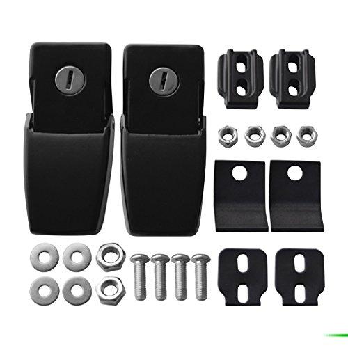 IPARTS Anti-Thief Security Hood lock kit for Jeep Wrangler 2007-2017 Rubicon Sahara Sport JK JKU (a pair Locking
