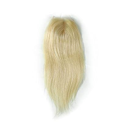 1 Piece Straight Swiss Lace Closure (44) Middle Part Blonde Lace Closure 100% Real Human Hair Color #613 (12 inches)