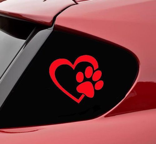 - pet DECALS Heart with Dog PAW Puppy Love 4